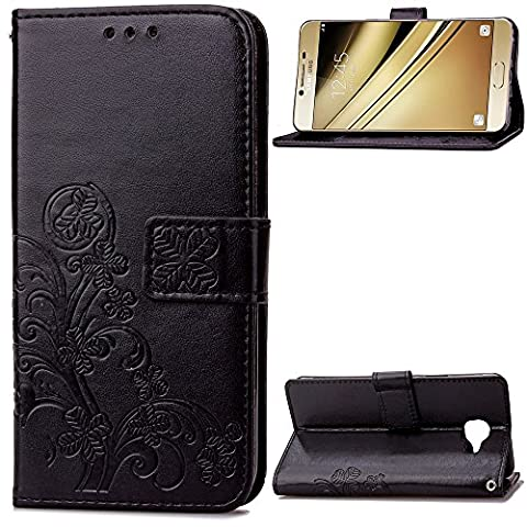 Samsung Galaxy C5 Case Leather, Ecoway Clover embossed Patterned PU Leather Stand Function Protective Cases Covers with Card Slot Holder Wallet Book Design Folio Magnetic Flip Stand Feature for Samsung Galaxy C5 - Four Leaf Clover(black)