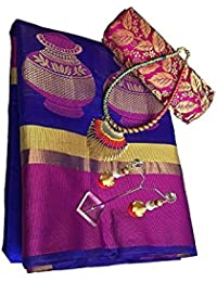 Maahik Woman Silk Blue Saree