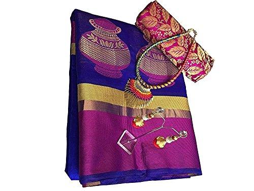 Purvi Fashion Women's Chiffon Saree With Blouse Piece (Orange Mix,Free Size)