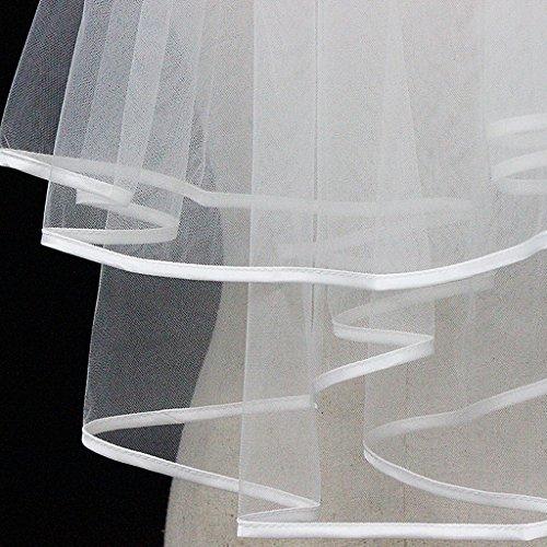 Qiuxiaoaa velo da sposa doppio nastro doppio con bordo e pettine per capelli abito da sposa da donna bordo rbbon velo da sposa corto velo da sposa accessori bianco latte