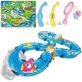 iBaseToy Angelspiel Spielzeug Set für Kinder, Badewanne Fisch Spielzeug 2 Angelruten, 6 schwimmenden Fischen, 1 Netz, 1 Karte und 1 Winding Track für Jungen Mädchen