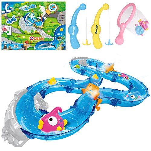 (iBaseToy Angelspielzeug für Kleinkinder, buntes schwimmendes Badespielzeug mit Wasserspur, Fischen, 2 Fischstraßen und mehr - Badewanne, Yard oder Pool Party Fischspielzeug Spielset für Kinder)