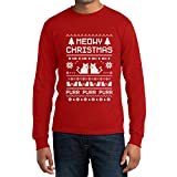 Meowy Christmas Langarm T-Shirt Rot X-Large - Süsse Weihnachts Kätzchen