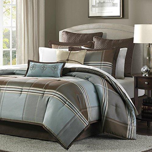California king size bedding comforter set di 8, in elegante blu/marrone a quadretti, reversibile