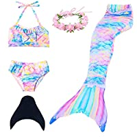 Qfeng Mermaid Tail Swimmable Princess Bikini Set Swimsuit Costume for Girls with Fin (120(4-5 Y))