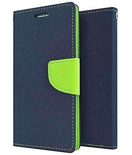 Aarnik Impact Resistant 2 Card Slot Cash Bills Slot Anti-Slip Design Mercury Flip Cover for Nokia Lumia 1020 (Blue & Applegreen)