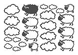 dekodino Wandtattoo Schafe mit Wolken Kinderzimmer Wandaufkleber Wandsticker