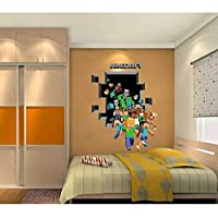 Minecraft Creeper 3D Wall Decal/Cling Home Decor Running Men Wall Decal for Kids Bedroom Wallpaper