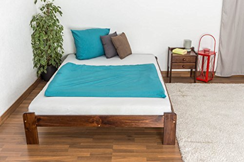 Massivholzbett - Gästebett Kiefer aus massiven Vollholz Nussfarben mit Lattenrost
