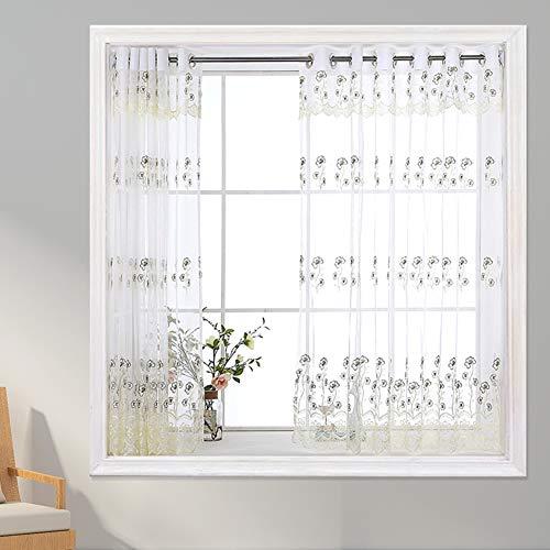 Kurze Schiere Vorhang, Blume Voile Vorhang für Bad küche Schiere Panel transparente tülle Fenster tür Vorhang mit Raffhalter,1 tafel-Beige W200xH180cm(79x71inch)