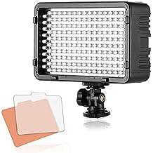 Selens LED 168 Luz Regulable Ultra Alta Potencia Panel Profesional Cámara / Videocámara LED Iluminación para Cámara Réflex Digital DSLR Canon, Nikon, Sony, Pentax con Bi-color Filtro, Adaptador de Batería y Soporte de Montaje de Zapata
