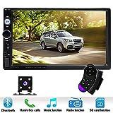 Podofo double DIN Car Stereo7 'lecteur HD MP5 écran tactile en Dash Affichage digital Bluetooth USB SD Autoradio multimédia Autoradio 2DIN avec caméra de recul