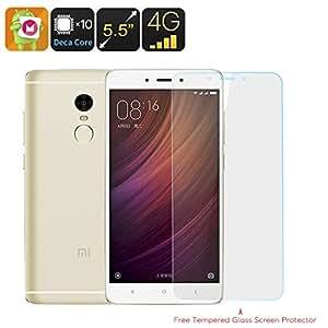 Xiaomi Redmi Note 4 16GB Smartphone - Deca Core CPU, Android 6.0, 2GB RAM, 16GB Memory, Dual SIM 4G, Fingerprint Scanner (Gold)