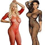LOVELYBOBO 2 Pack Frauen Fischnetz Sheer Open Crotch Unterwäschen Bodystockings Body Strumpf Bodysuit Dessous Übergröße (Schwarz+Rot)