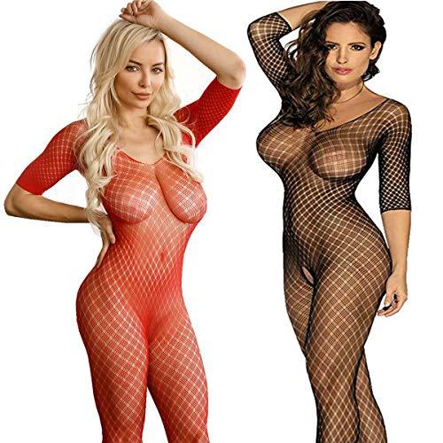 LOVELYBOBO 2 Pack Frauen Fischnetz Sheer Open Crotch Unterwäschen Bodystockings Body Strumpf Bodysuit Dessous Übergröße (Schwarz+Rot) - Sheer Bodystocking
