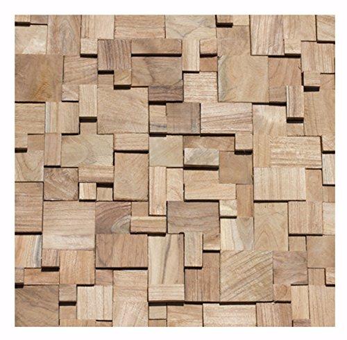 HO-011-1 Mosaik-Fliese auf Netz Teakholz Wand Verblender Wand-Design Holzwand - Fliesen Lager Stein-mosaik Verkauf Herne NRW