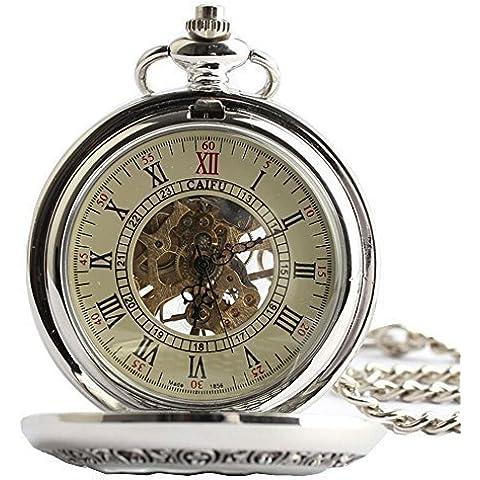 Scheletro orologio da tasca portachiavi movimento meccanico a mano vento Full Hunter Argento Inciso - Inciso Portachiavi