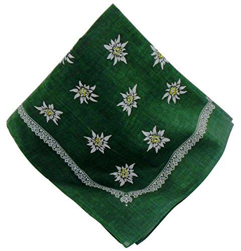 Teichmann Grünes Nickituch mit Edelweiß-Motiv | Bandana aus 100% Baumwolle | 53 x 53 cm | Halstuch