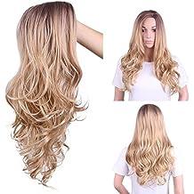 ZiQE Parrucca riccia lunga Ombre Parrucca sintetica bionda capelli biondi  per le donne Ricambio Parrucche per 789d1969c51c
