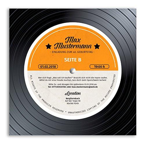 (20 x) Einladungskarten Geburtstag Schallplatte Musik Scheibe Vinyl LP Einladungen