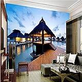 NIZI Fine Décor Hintergrundfotografie 3D Sonnenuntergang Strand Kunst Chalet Kabine Hotel Wandbild Seitenwand Tapete,300 * 210 cm