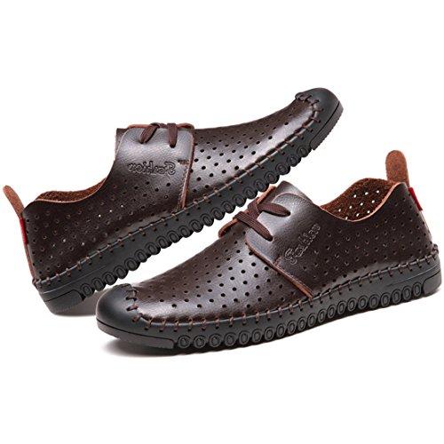 partiss hommes Chaussures de randonnée en cuir PU creuse respirant Casual Sandales 101Brown