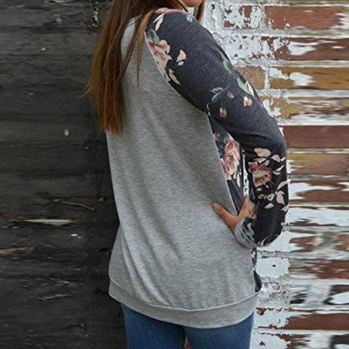 MORCHAN Sweatshirt Long Sleeve Tops Womens Casual floral épissage O-Neck chemisier Gris