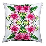 The Tropics Kissen, farbenfrohes, wasserfestes, mit Fasern gefülltes Kissen für draußen, ideal für Gartenstühle und Bänke, Motiv: Hibiskus