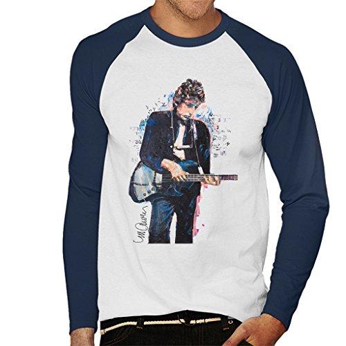 Sidney Maurer Bob Dylan On Bass Official Men's Baseball Long Sleeved T-Shirt (Baseball-kunst-drucke)