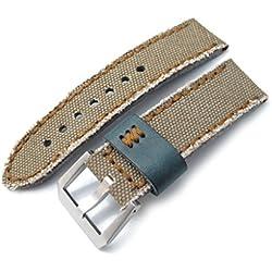 24mm MiLTAT Zizz Khaki Washed Canvas Watch Strap, Brown Wax Hand Stitching