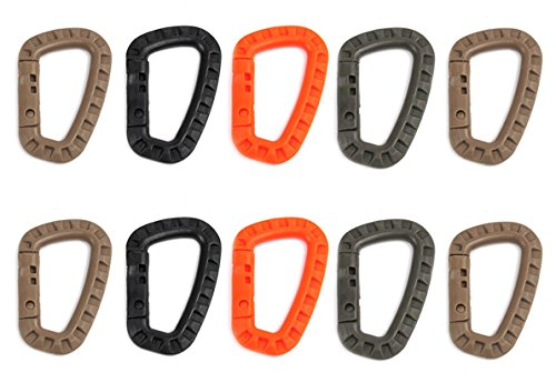 ZENDY PVC clé de verrouillage mousqueton porte-crochet porte-clés pour la maison, RV, camping, pêche, randonnée, voyage et porte-clés, des couleurs assorties plastique PVC ressort serrure en forme de D (Pack10)