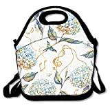 VTXWL Hand Drawn Watercolor Seamless Pattern with Summer Blossom of Blue and White Hydrangea Repeated Unique Lunch Tote Lunch Bag Office Reusable