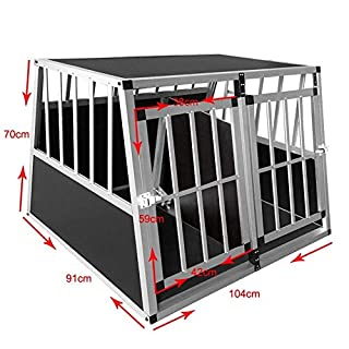 ANZ Aluminum Car Dog Cage Travel Car Crate Puppy Transport Pet Carrier -Small Single Door
