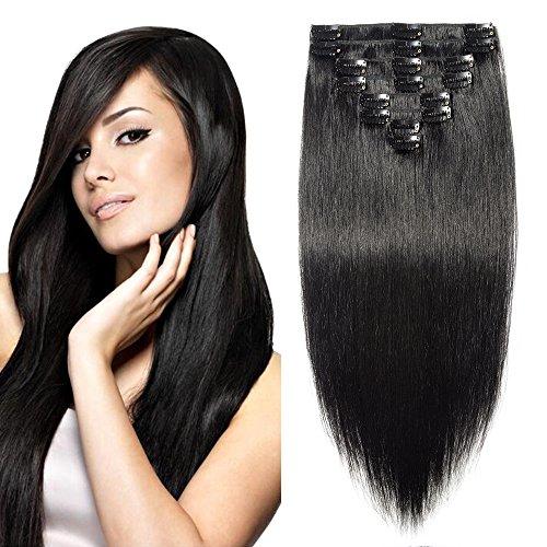 Extension Cheveux a Clip Naturel #1 NOIR - Double Drawn 100% Remy Human Hair Extensions Clip in (8 Bandes, 40cm-90g)