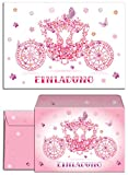 JuNa-Experten 6 Einladungskarten incl. 6 Umschläge zum Kindergeburtstag Prinzessin-Kutsche für Mädchen / rosa Kutsche / Schmetterlinge / märchenhafte Einladungen Geburtstag