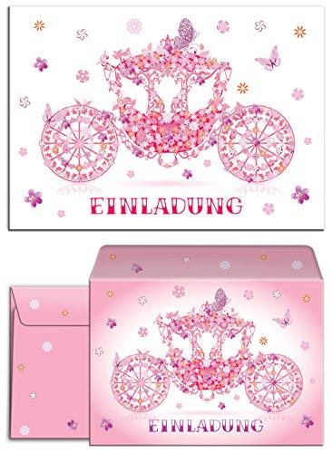 """12 Einladungskarten + 12 Umschläge zum Kindergeburtstag \""""Prinzessin-Party\"""" für Mädchen / Kutsche / rosa / Schmetterlinge / märchenhafte Einladungen zum Geburtstag /(12 Karten + 12 Umschläge)"""