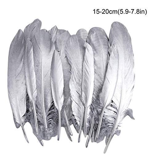 VIccoo Federn für Bastelarbeiten, 20 Stück Gans Silber Federn für Bastelarbeiten Traumfänger Hochzeit Themen Party Mittelstücke Dekorationen - 2#