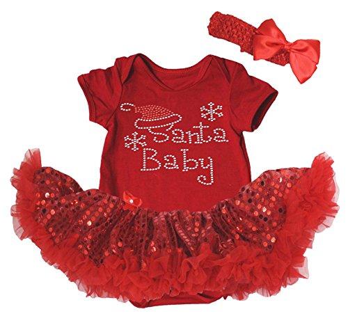 Costume natalizio con Babbo Natale Body Rosso Sequin Tutu Tutina Set nb-18m Red S