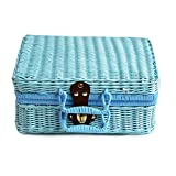 TUANMEIFADONGJI 29 * 22 * 14 cm Simulation Rattan Woven Koffer Vintage Koffer Aufbewahrungsbox Picknick Aufbewahrungsbox Geschenk Aufbewahrungsbox Retro Kleine Aufbewahrungsbox Weiß/Blau / Rosa