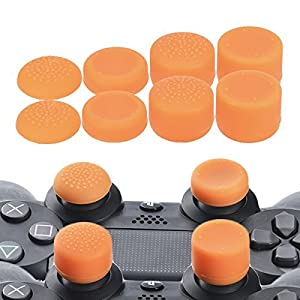 YoRHa Professionelle Aufsätze Daumengriffe Thumb Grips Thumbstick Joystick Cap Cover (Orange) Extra Hoch 8 Stück Pack für PS4, Switch PRO, PS3, Xbox 360, Wii U Tablet, PS2 Controller