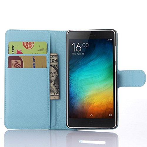 JARNING Xiaomi Mi 4c Hülle Leder Schutzhülle Schlanke Prämie PU Leder Wallet Flip Case Tasche Stoßsichere Lederhülle Brieftasche Case mit Magnetverschluss Kartenfach und Standfunktion -Blau