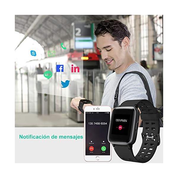 YAMAY Smartwatch, Impermeable Reloj Inteligente con Cronómetro, Pulsera Actividad Inteligente para Deporte, Reloj de… 5