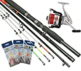 Sea Fishing Boat Beach Rod 3PC 3Multi Tipps mit Rollen + Tackle Federn Rigs diese Rute kann 8ft BRANDUNGSRUTE oder 6ft Bootsrute NGT