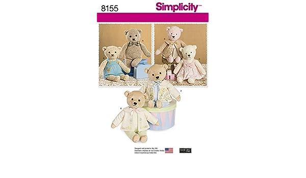 Simplicity Crafts Schnittmuster 8155 Stofftier Kuscheltier Bär ...