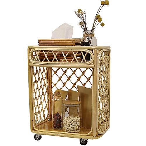 kitchen cart KüChenregal-Aufbewahrungswagen Mit Rolle, Multifunktions-BüCherregal-Wohnzimmer-Regal-Nachttisch, Badezimmer-Regal-Rattan-Lagerregal Einfach Zu SäUbern