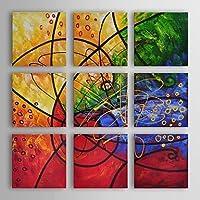 BL pittura a olio moderna astratta set vetrate di 9