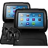 Veyron HR-9 - Reposacabezas con pantalla táctil y reproductor multimedia y DVD (2 x 9 pulgadas, incluye 2 auriculares inalámbricos por infrarrojos), color negro