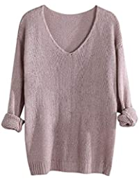 5319e5e17c9832 Women Pullover TUDUZ Ladies Casual V-Neck Jumper Long Sleeve Solid Color  Loose fit Knitted