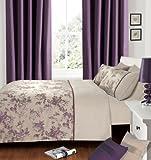 Luxury Jacquard Penelope Lace Trim Aubergine / Plum / Purple Single Size Bedding Duvet Cover Set