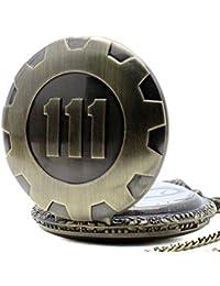 Primi Retro cadena de cuarzo reloj de bolsillo Fallout 4tema colgante Vault 111bronce
